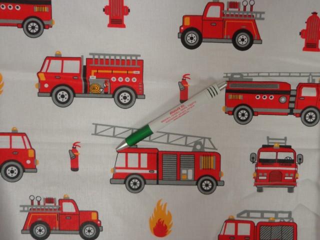 Gyerekmintás pamutvászon, tűzoltó autós (11165)