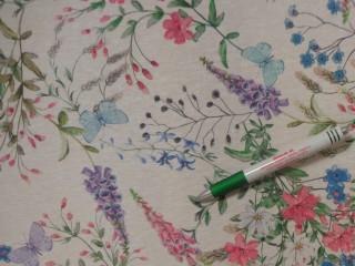 Loneta, ekrü alapon színes virágos kerti bútor vászon (11183)
