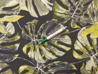 Loneta, fekete alapon, nagy zöld leveles kerti bútor vászon (11186)