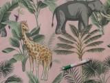 Loneta, rózsaszín alapon, zöld leveles-zsifáros-elefántos kerti bútor vászon (11187)