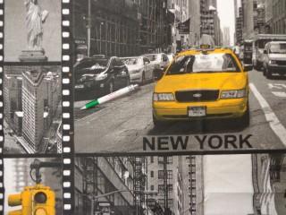 Mintás pamutvászon, szürke-sárga New York mintás (11191)
