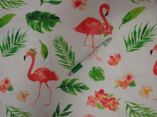 Gyerekmintás karton, fehér alapon flamingós (11198)