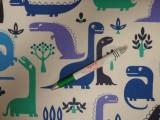 Gyerekmintás pamutvászon, dinós, kék-lila (11199)