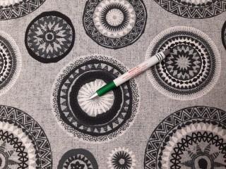 Loneta, szürke alapon fekete mandalás kerti bútor vászon (11236)