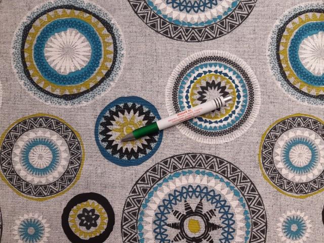 Loneta, szürke alapon türkiz mandalás kerti bútor vászon (11237)