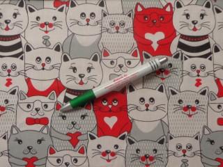 Gyerekmintás pamutvászon, sűrű cicás, piros (11244)