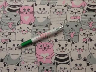 Gyerekmintás pamutvászon, sűrű cicás, rózsaszín (11245)