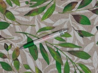 Loneta, drapp-fehér leveles alapon zöld leveles, kerti bútor vászon (11259)