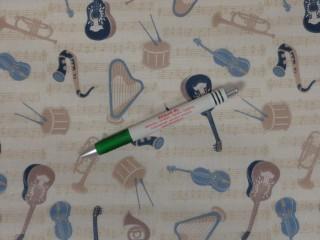 Gyerekmintás pamutvászon, hangszeres (11271)