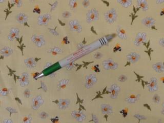 Mintás pamutvászon, vajsárga alapon méhecskés-virágos (11275)