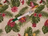 Mintás pamutvászon, zöld leveles - flamingó virágos (11282)