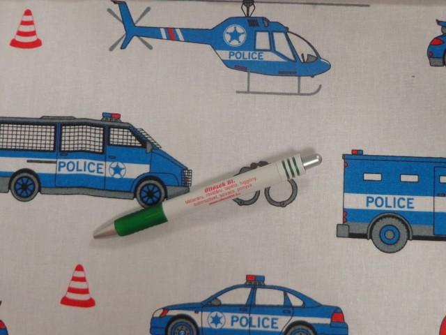 Gyerekmintás pamutvászon, rendőrautós (11289)