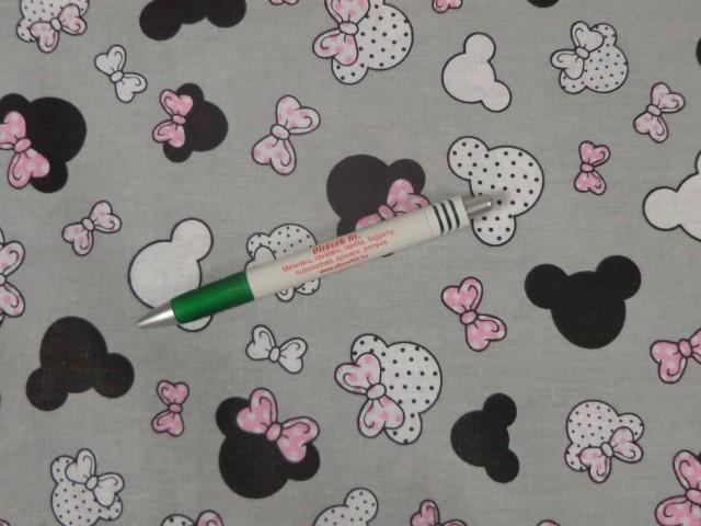 Gyerekmintás pamutvászon, szürke alapon rózsaszín masnis Minnie-s (11290)