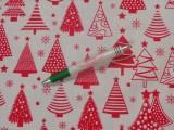 Karácsonyi pamutvászon, piros, sűrű fenyőfás (11304)