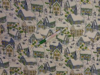 Karácsonyi pamutvászon, téli táj (11305)