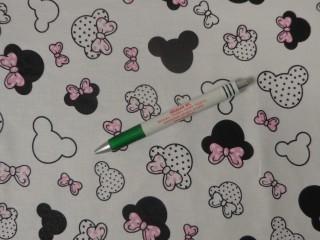 Gyerekmintás pamutvászon, fehér alapon rózsaszín masnis Minnie-s (11318)