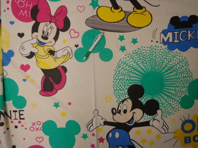 240 cm széles pamutvászon, ekrü alapon Minnie, Mickey (11337)