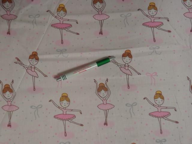 240 cm széles pamutvászon, rózsaszín alapon balerinás (11339)