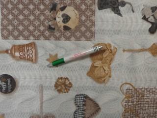 Loneta, karácsonyi vászon, drapp-barna-szürke-arany (11361)