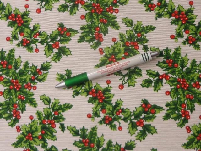 Loneta, karácsonyi vászon, magyal mintás (11367)