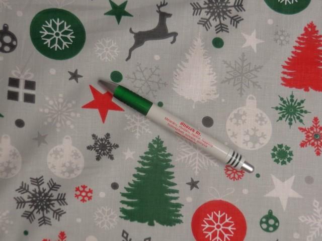 Karácsonyi pamutvászon, szürke alapon karácsonyi mintás (11369)