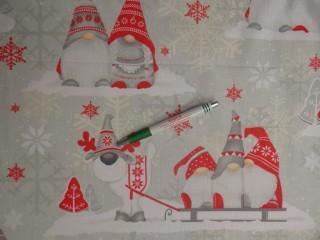 Karácsonyi pamutvászon, szürke-piros manós (11370)