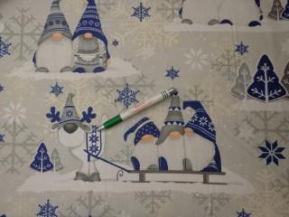 Karácsonyi pamutvászon, szürke-kék manós (11371)