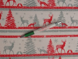 Karácsonyi pamutvászon, szürke-piros fenyőfás, rénszarvasos (11372)