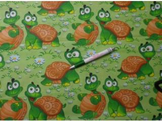 Gyerekmintás pamutvászon, vidám teknős (11373)