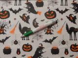 Mintás pamutvászon, fehér alapon halloween mintás (11433)