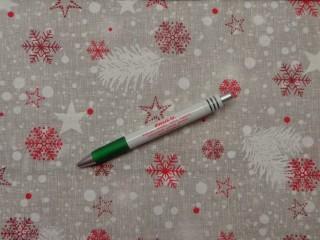Loneta, karácsonyi vászon, piros-bordó hópelyhes (11434)