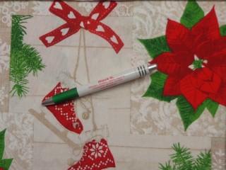 Loneta, karácsonyi vászon, mikulás virágos, korcsolyás (11437)