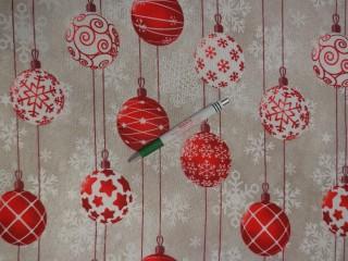 Loneta, karácsonyi vászon, piros gömbös (11441)