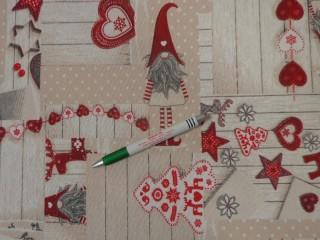 Loneta, karácsonyi vászon,manós-szíves (11440)