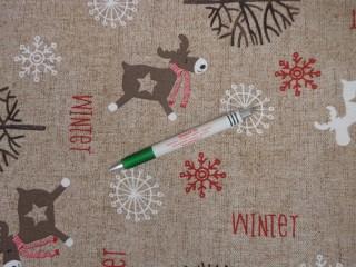 Loneta, karácsonyi vászon, rénszarvasos, hópelyhes (11442)