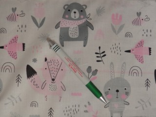 Gyerekmintás pamutvászon, macis-rókás-nyuszis, rózsaszín (11464)