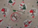 Loneta, karácsonyi vászon, manós-rénszarvasos (11478)