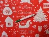Karácsonyi pamutvászon, piros alapon fehér formák (11490)