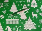 Karácsonyi pamutvászon, zöld alapon fehér formák (11491)