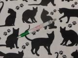 Gyerekmintás pamutvászon, fehér fekete macskás, nagy minta (11493)
