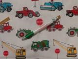 Gyerekmintás pamutvászon, színes munkagépes (11495)