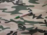 Mintás pamutvászon, terepmintás, drapp-zöld-fekete, nagy minta (11497)