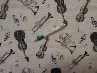 Loneta, ekrü alapon hangszeres, kerti bútor vászon (11511)