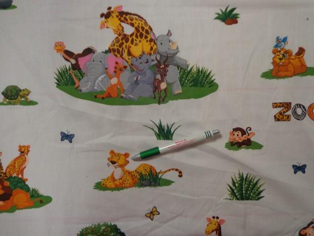 Gyerekmintás pamutvászon, állatkertes (11523)