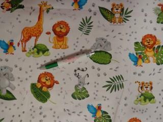 Gyerekmintás pamutvászon, zöld leveles, tappancsos, állatos  (11524)