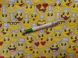 Gyerekmintás pamutvászon, fehér alapon smiley-s (11527)