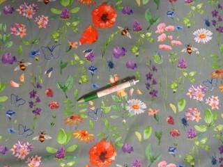 Mintás pamutvászon, szürke alapon tavaszi virágos (11541)