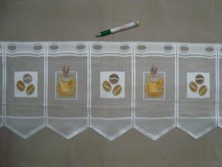 Cikk-cakkos aljú, kávészemes - kávécsészés mintájú jacquard vitrázsfüggöny, 30 cm magas (7223-3)