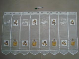 Cikk-cakkos aljú, kávészemes - kávécsészés mintájú jacquard vitrázsfüggöny, 60 cm magas (7223-4)