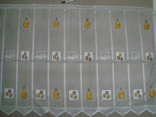 Cikk-cakkos aljú, kávészemes - kávécsészés mintájú jacquard vitrázsfüggöny, 90 cm magas (7223-5)